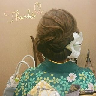 ヘアアレンジ セミロング 着物 夜会巻 ヘアスタイルや髪型の写真・画像