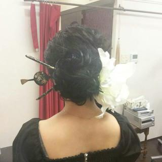 ヘアアレンジ ロング ポンパドール 和装 ヘアスタイルや髪型の写真・画像