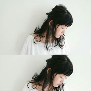 ヘアアレンジ セミロング デート 小顔 ヘアスタイルや髪型の写真・画像