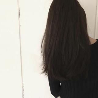 ロング アッシュ 暗髪 ストレート ヘアスタイルや髪型の写真・画像