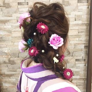 編み込み 三つ編み ヘアアレンジ ロング ヘアスタイルや髪型の写真・画像