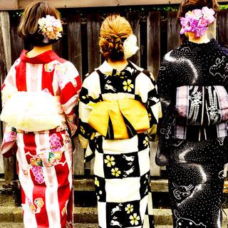 夏 花火大会 ミディアム ヘアアレンジ ヘアスタイルや髪型の写真・画像