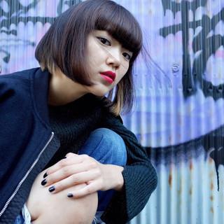黒髪 インナーカラー ピュア ワンレングス ヘアスタイルや髪型の写真・画像