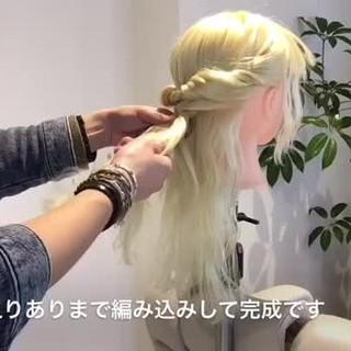 編み込み ロング 大人かわいい ヘアアレンジ ヘアスタイルや髪型の写真・画像