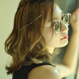ハーフアップ ショート 簡単ヘアアレンジ ウォーターフォール ヘアスタイルや髪型の写真・画像