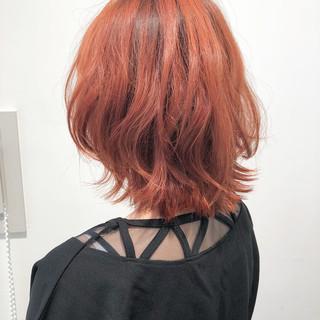 ボブ ストリート オレンジ ハイトーン ヘアスタイルや髪型の写真・画像 ヘアスタイルや髪型の写真・画像