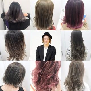 ロング バレイヤージュ ハイライト ダブルカラー ヘアスタイルや髪型の写真・画像