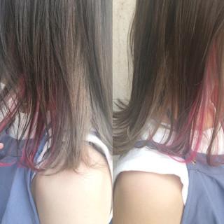 ミディアム インナーカラー ピンク ロブ ヘアスタイルや髪型の写真・画像