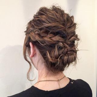 結婚式 ミディアム ナチュラル パーティ ヘアスタイルや髪型の写真・画像