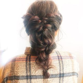 ロング 編みおろし ナチュラル 簡単ヘアアレンジ ヘアスタイルや髪型の写真・画像