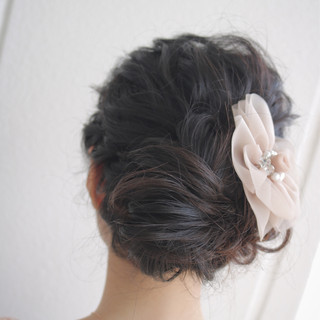 簡単ヘアアレンジ セミロング ゆるふわ ヘアアレンジ ヘアスタイルや髪型の写真・画像