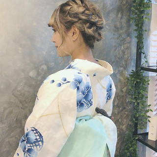 ミディアム 浴衣アレンジ ヘアアレンジ ゆるふわセット ヘアスタイルや髪型の写真・画像 | Kyoko / hair salon