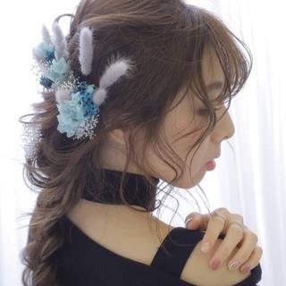 ロング 編みおろし 大人かわいい 編みおろしヘア ヘアスタイルや髪型の写真・画像