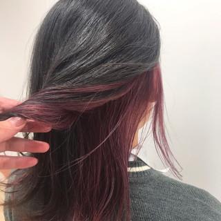 モード セミロング ベリーピンク ピンク ヘアスタイルや髪型の写真・画像