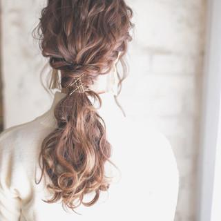 ヘアアレンジ ヘアアクセ ポニーテール ハイライト ヘアスタイルや髪型の写真・画像 ヘアスタイルや髪型の写真・画像