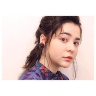 ゆるふわ 編み込み アンニュイ セミロング ヘアスタイルや髪型の写真・画像