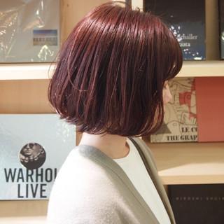 切りっぱなしボブ ピンク ラベンダーピンク デート ヘアスタイルや髪型の写真・画像