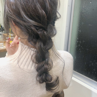 ガーリー 結婚式 セミロング オフィス ヘアスタイルや髪型の写真・画像