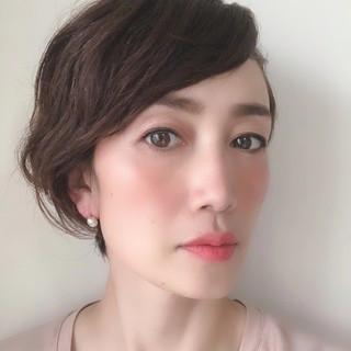 くせ毛 エレガント パーマ 40代 ヘアスタイルや髪型の写真・画像