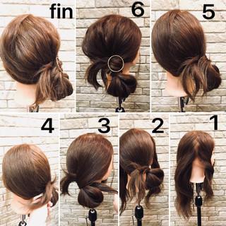 デート オフィス ミディアム 簡単ヘアアレンジ ヘアスタイルや髪型の写真・画像