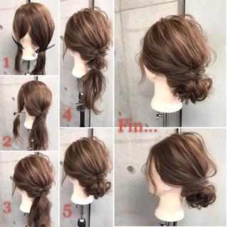 ヘアアレンジ セミロング ゆるふわ 簡単ヘアアレンジ ヘアスタイルや髪型の写真・画像