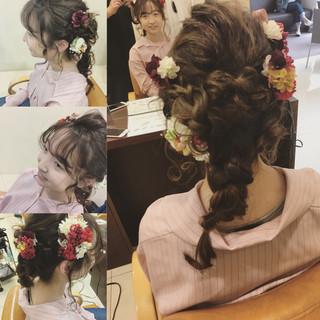 フェミニン 成人式 着物 セミロング ヘアスタイルや髪型の写真・画像 ヘアスタイルや髪型の写真・画像