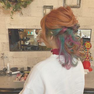 ミディアム ストリート ブルー 簡単ヘアアレンジ ヘアスタイルや髪型の写真・画像