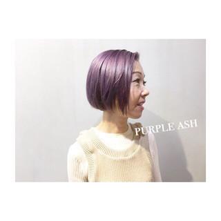 ボルドー パープル ブルー ネイビー ヘアスタイルや髪型の写真・画像