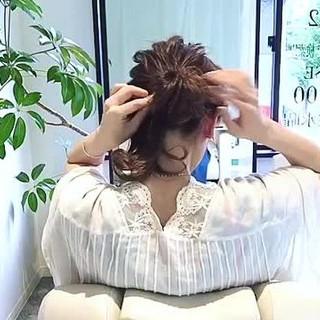 セミロング デート ルーズ 簡単ヘアアレンジ ヘアスタイルや髪型の写真・画像