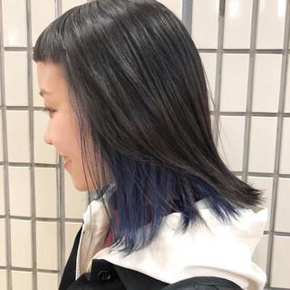 インナーカラー モード セミロング モテボブ ヘアスタイルや髪型の写真・画像