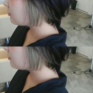 インナーカラー ショート グレージュ 透明感 ヘアスタイルや髪型の写真・画像