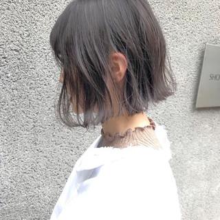 ミニボブ 透明感 ナチュラル 切りっぱなしボブ ヘアスタイルや髪型の写真・画像