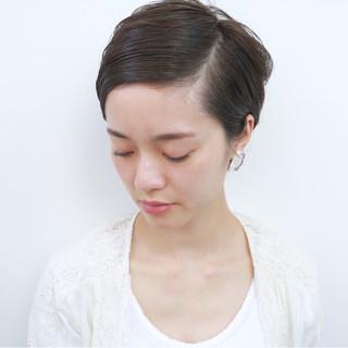ナチュラル 簡単ヘアアレンジ ショート 暗髪 ヘアスタイルや髪型の写真・画像