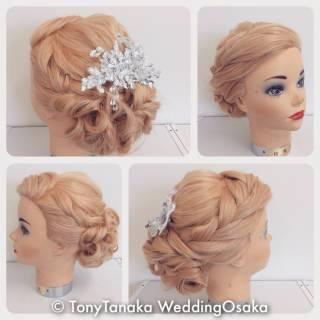 編み込み コンサバ ロング 結婚式 ヘアスタイルや髪型の写真・画像