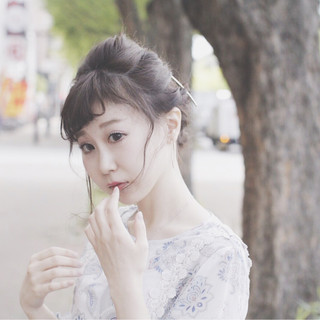 ショート フェミニン 簡単ヘアアレンジ ミディアム ヘアスタイルや髪型の写真・画像