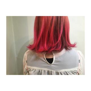 ピンク オレンジ アッシュバイオレット ボブ ヘアスタイルや髪型の写真・画像