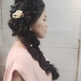 編み込み くるりんぱ パーティ ロング ヘアスタイルや髪型の写真・画像 ヘアスタイルや髪型の写真・画像