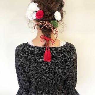 ミディアム フェミニン 簡単ヘアアレンジ 卒業式 ヘアスタイルや髪型の写真・画像