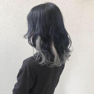 モード ミディアム ダブルカラー ハイトーン ヘアスタイルや髪型の写真・画像