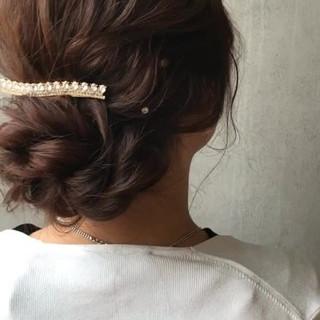 女子会 セミロング ヘアアレンジ デート ヘアスタイルや髪型の写真・画像