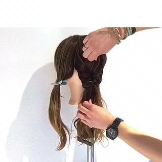ショート 簡単ヘアアレンジ セミロング ナチュラル ヘアスタイルや髪型の写真・画像