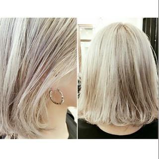 外国人風 モード 春 ホワイトアッシュ ヘアスタイルや髪型の写真・画像