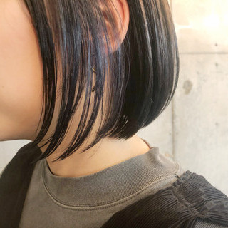 ナチュラル ボブ イルミナカラー 3Dカラー ヘアスタイルや髪型の写真・画像 ヘアスタイルや髪型の写真・画像