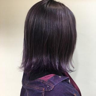 モード ミディアム パープル グラデーションカラー ヘアスタイルや髪型の写真・画像