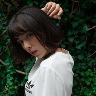黒髪 ボブ ピュア ガーリー ヘアスタイルや髪型の写真・画像