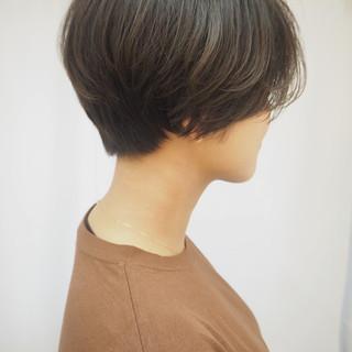 ハンサムショート ナチュラル 透明感カラー 大人ショート ヘアスタイルや髪型の写真・画像