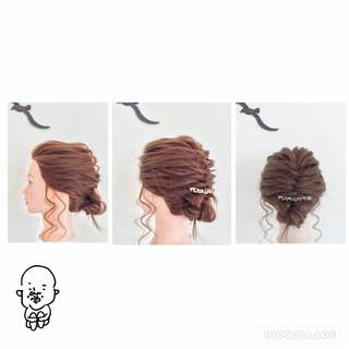 ヘアアレンジ 編み込み 三つ編み フィッシュボーン ヘアスタイルや髪型の写真・画像 ヘアスタイルや髪型の写真・画像