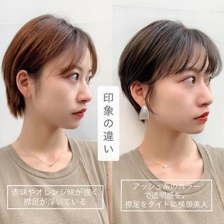 ナチュラル 前髪アレンジ ショート ミニボブ ヘアスタイルや髪型の写真・画像