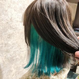 フェミニン ミント ダメージレス アディクシーカラー ヘアスタイルや髪型の写真・画像