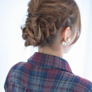 フェミニン 大人かわいい コンサバ 三つ編み ヘアスタイルや髪型の写真・画像
